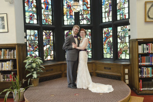 When you get married across the street, you get pictures in the library.